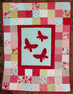 Appliqued Patchwork Butterfly Quilt by onewhimsicalwoman on Etsy, $94.99