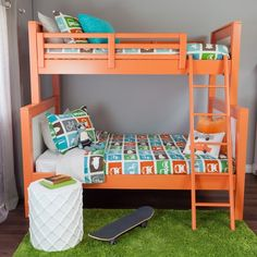 Love the Dwellstudio transportation pattern in these rockin neon bunks! and the turf rug is awesome too.