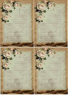From Glenda's World  Free-download  Brown Paper Bag-N-Aged Doily Journal Cards