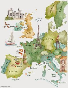 Illustrated map showing major cities of france including paris eda turan vizesiz avrupa illustrated mapsworld gumiabroncs Image collections