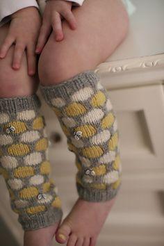 Knitting pattern for Bee's Knees legwarmers for children