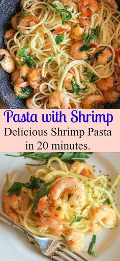 Pasta with Shrimp, a fast, easy, and healthy Pasta recipe, ready in 20 minutes, the perfect week night or guests are coming Italian pasta dish/anitalianinmykitchen.com