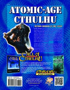 Atomic-Age Cthulhu: Mythos Horror in the 1950s (Call of Cthulhu roleplaying) by Brian Sammons, Christopher Smith Adair, Matt Sanborn and Oscar Rios (Feb 4, 2013) | Book cover and interior art for Call of Cthulhu Roleplaying Game - CoC, Basic Role-Playing System, BRP, The Card Game, TCG, Living Card Game, LCG, Miskatonic, H. P. Lovecraft, fantasy, horror, RPG, Chaosium Inc. | Create your own roleplaying game books w/ RPG Bard: www.rpgbard.com | Not Trusty Sword art: click artwork for source