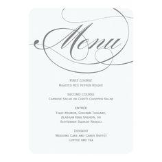 Formal Wedding Menus Wedding Dinner Menu Card Script Calligraphy