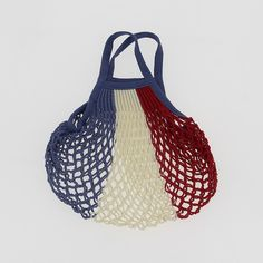 Cotton String Bag - Red/White/Blue
