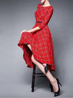 Checked Printed Midi Ball Dress