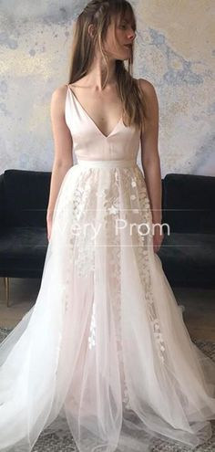 A-Line V-Neck Spaghetti Straps Tulle Long Wedding Dresses With Lace,WD152 #wedding#weddingdresses#longweddingdresses#newweddingdresses#cheapweddingdresses Long Wedding Dresses, Princess Wedding Dresses, Cheap Wedding Dress, Lace Wedding, Spaghetti Straps, Summer Wedding, Lace Dress, Fashion Dresses, Neckline
