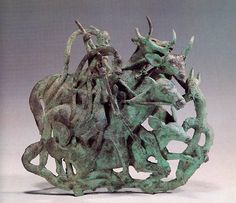 compact sculptures of animals and men. Similar designs are found in the Asian steppe cultures (e.g., Ordon bronzes), but few reach the complexity and structural impact achieved by the Dian culture. (480-220 BCE China Yunnan Provincial Museum in Kunming