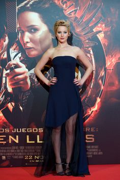 In Christian Dior at the Madrid premiere of The Hunger Games: Catching Fire.   - ELLE.com