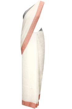 Off-white nautical fish pallu sari by Anavila. Shop now:  http://www.perniaspopupshop.com/designers/anavila #sari #anavila #shopnow #perniaspopupshop