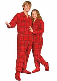 Red Plaid Fleece Adult Footed Pajamas with Drop Seat Mens Footed Pajamas 3efa0c3a7