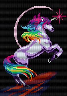 Rainbow Unicorn - Square Grid Pattern- 100 Columns X 110 Rows - Pattern by me, Man in the Book