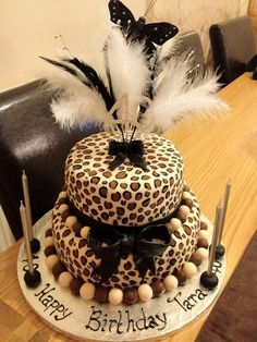 2 Tier Leopard Print Cake by Karen's Cake Kreations, via Flickr.  Going to send this as a hint to my husband!