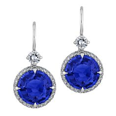 6.04 Carat Ceylon Sapphire Diamond Platinum Drop Earrings | From a unique collection of vintage drop earrings at https://www.1stdibs.com/jewelry/earrings/drop-earrings/