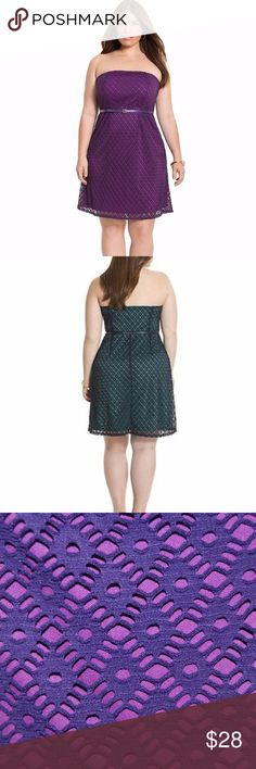 New LANE BRYANT Strapless Lace Tube Dress w/Belt Lane Bryant's geo lace tub dress with color pop lining is always a compliment magnet. Worn strapless or with the detachable straps, this figure-flattering silhouette hugs your shape with an elastic waist and coordinating skinny belt. Elastic top with adhesive strip.  Polyester Stretch Woven Machine wash  approx measurements  bust: 44-50 waist: 42-48 hips: 60 length: 35 waist to hem: 23  condition: new without tags size 22 Lane Bryant Dresses…