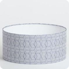 Abat-jour / suspension cylindrique tissu Cinetic indigo
