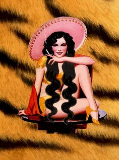 Mexican Pinup Girl On Tiger Background