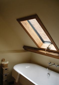 Clement conservation rooflight in bathroom with brass hand winder Conservation Rooflights, Attic Bedroom Small, Metal Windows, Roof Window, Listed Building, Roof Types, Roof Light, Window Design, Bath Caddy