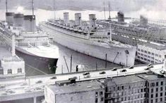 New York March 1940, L to R: SS Normandie, RMS Queen Mary and Queen Elizabeth