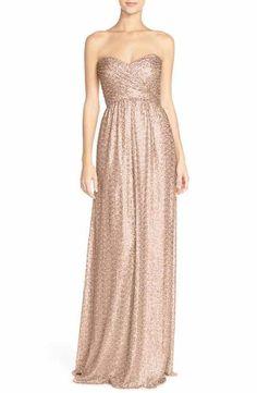 Amsale 'London' Sequin Tulle Strapless Column Gown Sequin Gown, Tulle Gown, Strapless Dress Formal, Formal Dresses, Nye Dresses, Wrap Dresses, Ruched Dress, Occasion Dresses, Dress Long