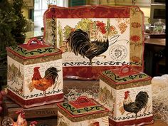 set of 3 rooster canisters country kitchen accent home decor for