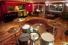 A beautiful recording room at Summerfield Recording Studios in Birmingham, UK. That's a Gretsch drum kit in the foreground..