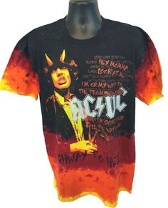 New AC/DC Highway To Hell Angus Young Men's T-Shirt Size Large Tie Dye Black L - Second Hand Tees - 2