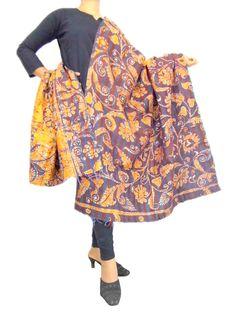 Reversible Kantha Dupatta in Cotton Silk-Yellow/Dark Brown