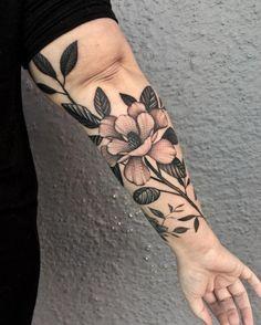 Mommy Tattoos, Girly Tattoos, Rose Tattoos, Tatoos, Tree Sleeve Tattoo, B Tattoo, Sleeve Tattoos, Underarm Tattoo, Magnolia Tattoo