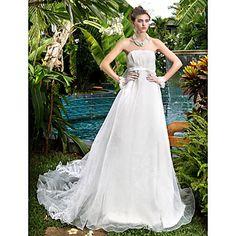 vestido de novia de organza tren de la corte sin tirantes de la princesa una línea (722 150) - USD $ 249.99
