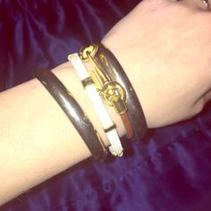 Coach leather bracelet Leather band bracelet with gold clasp, perfect for layering, simple pretty look Coach Jewelry Bracelets