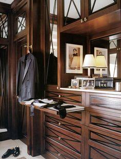 Gentlemen's closet w/ X-theme cabinetry/millwork; Alessandra Branca