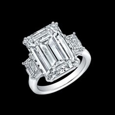Three Stone Emerald Cut Diamond Platinum Engagement Ring available at TWO by LONDON!