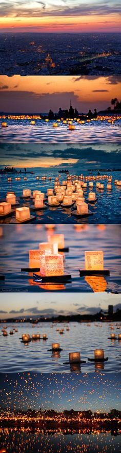 Thailand's Festival of Lights which occurs mid November, candles are also set afloat on water (also a Buddhist festival).