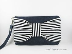 Big Bow Denim Clutch Black and White Stripe iPhone by lovelybag, $9.90
