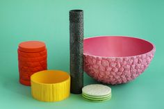 Fruit Ninja series. Resin homewares collection inspired by fruit textures. By Mathery, Melbourne. Via TDF.
