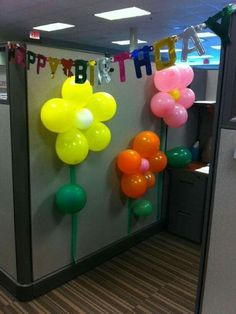 I throw office birthday party's for the same reason prisoners decorate their cells at christmas…. Cubicle Birthday Decorations, Office Party Decorations, Cubical Ideas, Office Cube, Cube Decor, Decoration Ikea, Cubicle Makeover, Balloon Flowers, Office Christmas