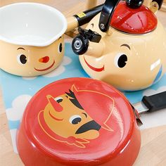 Pinocchio kawaii kitchen ware set by Sugarland in Japan; love the teapot!!! so cute and kitsch like a disney beauty and the beast kitchen,now your dreams can come true