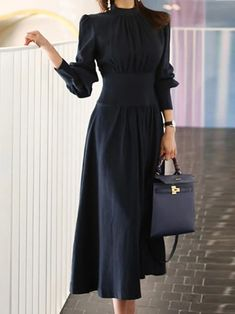Solid Stand Collar Paneled A-line Midi Dress - diorer Elegant Midi Dresses, Casual Dresses, Fashion Dresses, Dresses Dresses, Hijab Fashion, Classy Dress, Classy Outfits, Sweater Dress Outfit, Dress Up