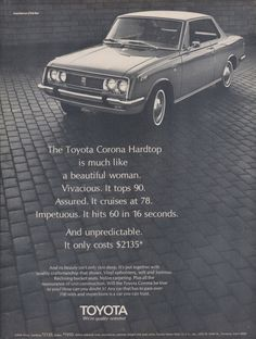 1968 Toyota Corona Hardtop Car Photo Ad Vintage Advertising Beautiful Woman Print Wall Art Decor by AdVintageCom on Etsy https://www.etsy.com/listing/212359831/1968-toyota-corona-hardtop-car-photo-ad