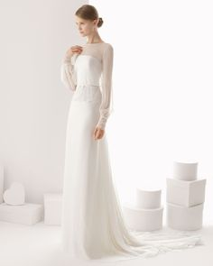 161 CEUTA | Wedding Dresses | 2014 Rosa Clara Collection | Rosa Clara (Shown with thin Bow Belt attached with Panel Chapel Train)