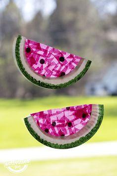 Watermelon Kids Crafts – Summertime Fun – A Crafty Life watermelon suncatcher craft – watermelon craft – summer crafts – Summer Crafts For Toddlers, Toddler Crafts, Art For Kids, Summer Activities For Preschoolers, Art Children, Daycare Crafts, Preschool Crafts, Kids Crafts, Art Crafts