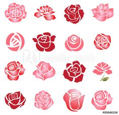 Illustration of Set of rose flower design elements vector art, clipart and stock vectors. Rose Illustration, Design Rosa, Rose Design, Rosa Stencil, Fabric Paint Designs, Colored Pencil Techniques, Flower Doodles, Diy Arts And Crafts, Fabric Painting