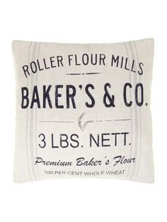 Linea Bakers And Co Advertisement Cushion - White