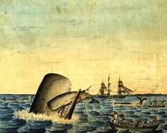 what it shows, there's not much to say about this picture. It's a small painting by an unknown American whaleman artist. It was painted around 1830, and it hangs in the New Bedford Whaling Museum (an extraordinary place with which no New Englander should b