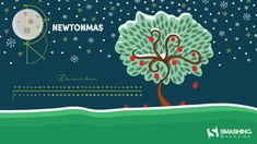 "Merry Newtonmas  ""What better way is there to bring in the festive season with an Isaac Newton-themed wallpaper? For geeks and science lovers especially."" — Designed by Passion Digital from the UK."