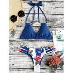 e6d906452c Buy wholesale micro floral straps thong bikini s deep blue for $15.07 from  China bikinis wholesaler