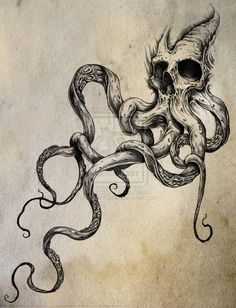 tattoo drawings - Google Search + I never seen the octopus and a skull as part of one. Interesting, It sort of gives the octopus more personality.