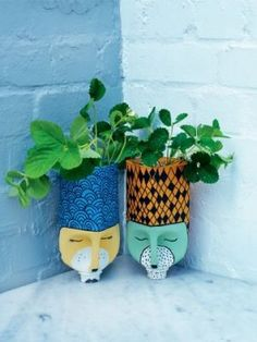 Want to get creative with flower pots? Here are 60 creative DIY planters that you can try as your next craft project. Plastic Milk Bottles, Plastic Bottle Planter, Plastic Bottle Crafts, Diy Bottle, Recycled Bottles, Recycled Crafts, Diy Crafts, Bottle Holders, Recycler Diy