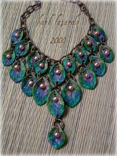 Peacock necklace by Barb Fajardo. Think this piece is polymer clay and pearls. Polymer Clay Necklace, Polymer Clay Pendant, Polymer Clay Art, Polymer Clay Projects, Polymer Clay Creations, Jewelry Art, Beaded Jewelry, Jewelry Design, Peacock Jewelry